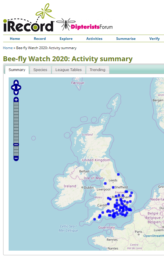 Map of bee-fly records up to 21 March